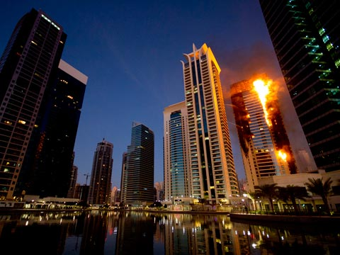 Jumeirah Lakes Tower (JLT), High-rise Fire spread due to Flammable.
