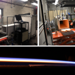 (top) Photograph of the laboratory-scale wind tunnel used for studying laminar and turbulent boundary layer combustion under forced flow. (bottom) Side-view photograph of an ethanol diffusion flame in a forced flow.